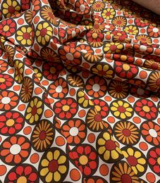 Retro organic jersey, orange flowers