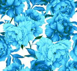 Blue peonies organic french terry, white