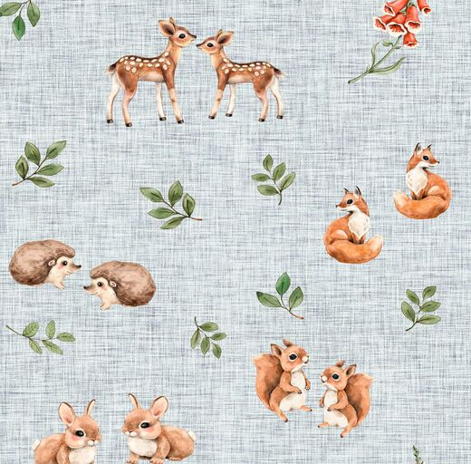 Forest friends organic jersey, light blue